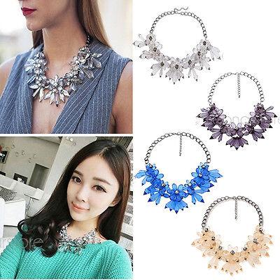 Fashion Jewelry Crystal Pearl Chunky Statement Bib Pendant Chain Choker Necklace