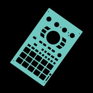 byNovalays Blank cyan overlay card for the Roland SP404 Sampler