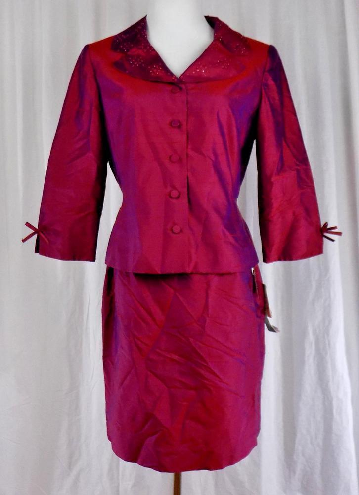 women MORGAN PETITESSz 10SilkLined2 Pc Skirt SuitRed With Purple SheenNWT
