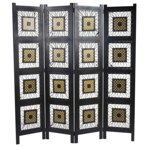 Paravent Antalya 170x160cm Raumteiler Trennwand Sichtschutz Ornamente schwarz