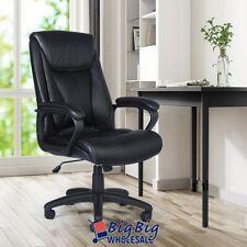 Black Pu Leather High Back Office Chair Executive Ergonomic Computer Desk Swivel
