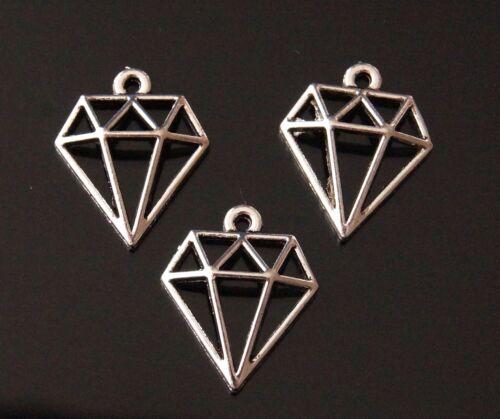 10x Diamante hueco de Plata Tibetana Dijes en forma Colgantes TSC53