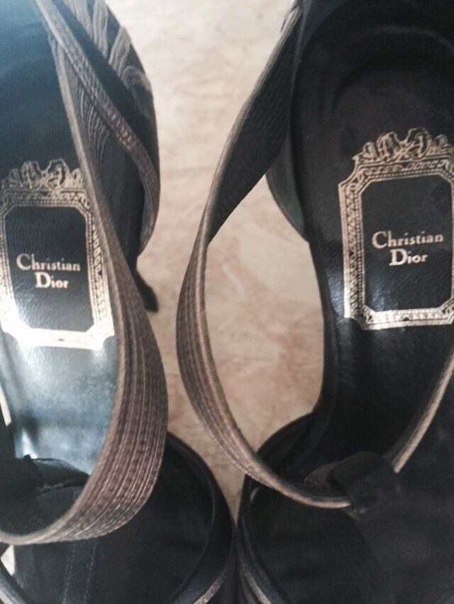 CHRISTIAN DIOR SATIN TAUPE T schuhes STRAP PUMP w/Jeweled Logo schuhes T - 36 aed751
