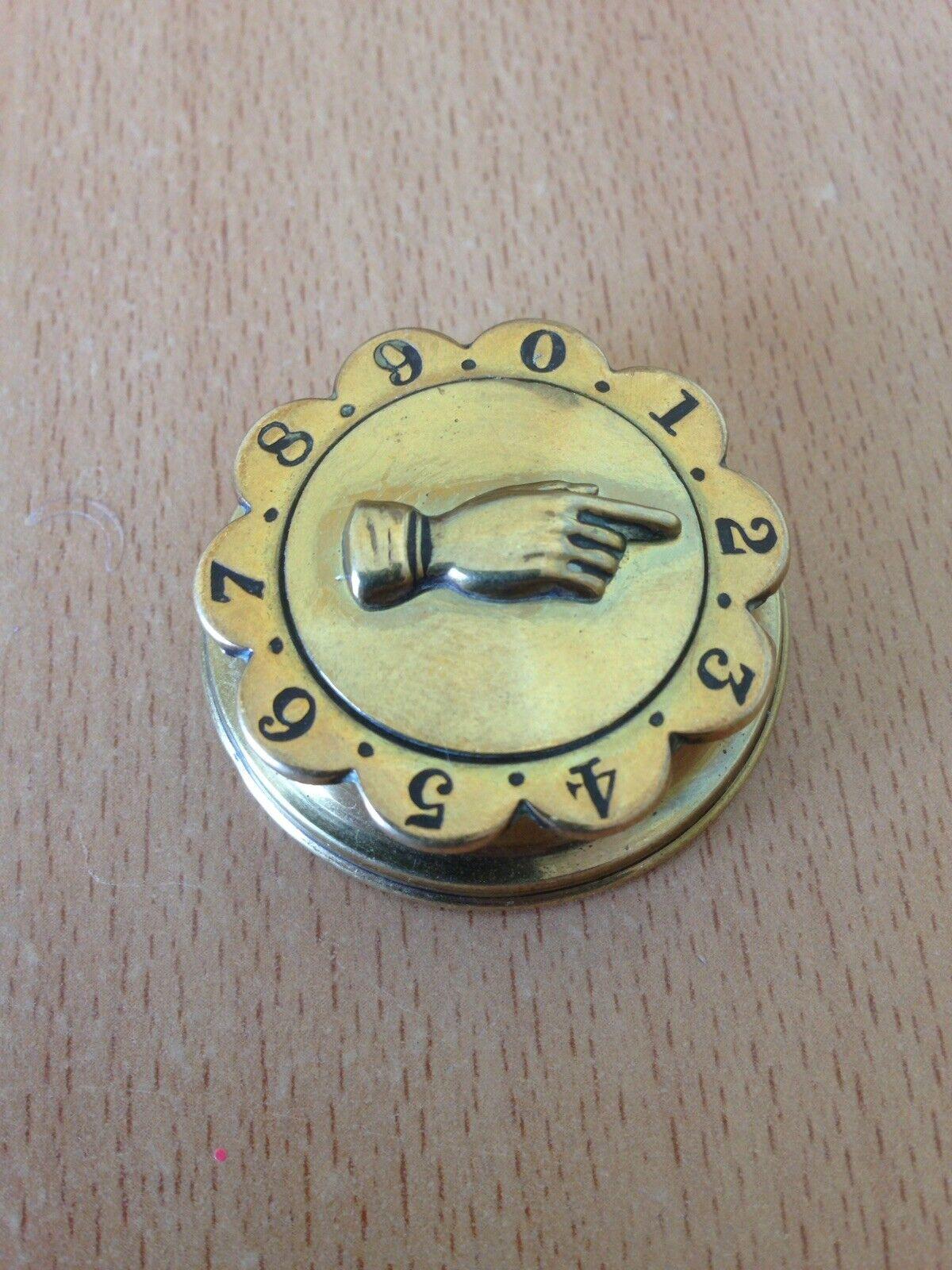 Antique Whist Marker Brass Registered Victorian 1860.