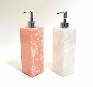 Image Is Loading NEW Gold Lame Rose Acrylic Soap Dispenser Pink