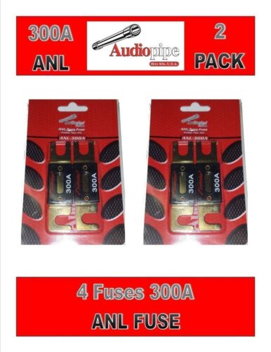 2 Pair 300 Amp ANL Fuses Gold Plated Car Audio Stereo Installation Blister Pack