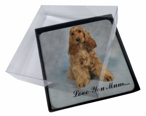 4x Red Cocker Spaniel /'Love You Mum/' Picture Table Coasters Set in G AD-SC6lymC