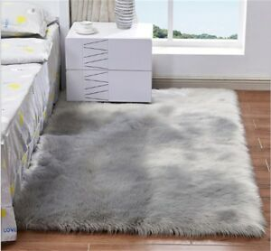 4'x6' Gray Soft Fluffy Faux Fur