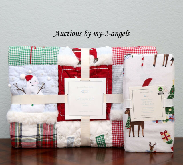Pottery Barn Kids Holiday Jolly Santa Flannel Duvet Cover Twin Christmas