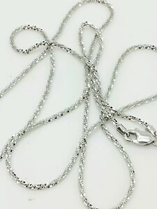14K 1.1mm Solid White Gold Diamond Cut Sparkle Necklace Chain High Quality Gold
