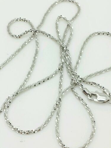"14k Solid White Gold Diamond Cut Sparkle Necklace Chain 16/"" 1.1mm"