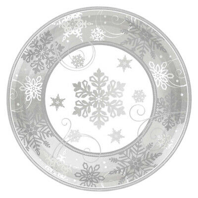 8 Silver Gold Paper Plates Disposable Party Tableware Wedding Birthday Christmas