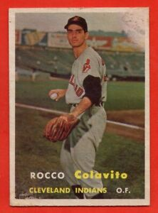 1957-Topps-212-Rocky-Colavito-VG-MARKED-ROOKIE-RC-Cleveland-Indians-FREE-SHIP