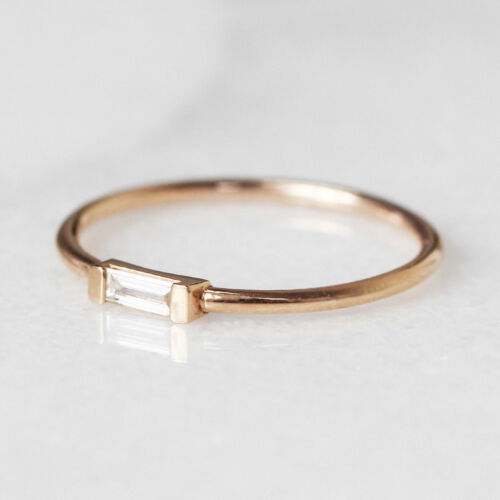 14 K Solid Gold With 0.06 Ctw Natural Baguette Diamond Ring Minimalist Jewelry