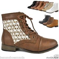 Women Crochet Ankle Booties Military Combat Army Riding Laces Up Boots Shoes