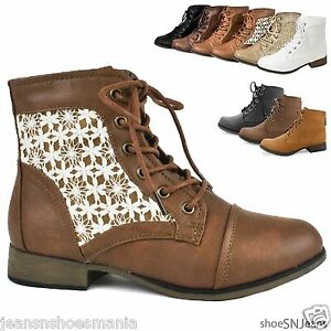 New Women Crochet Ankle Booties Military Combat Army Riding Laces ...