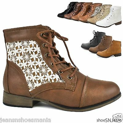 New Women Crochet Ankle Booties Military Combat Army Riding Laces Up Boots Shoes