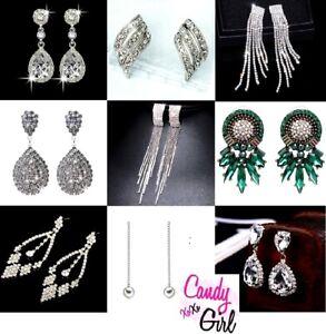 Crystal Diamante Rhinestone Sparkle Drop Dangle Stud Earrings Evening Wedding UK