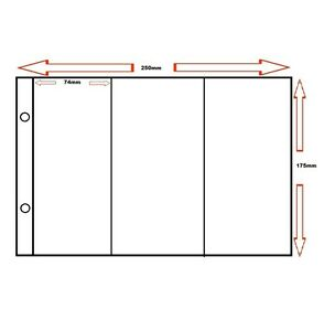 100-x-LIEBIG-TRADING-CARD-SPARE-PAGE-SLEEVES-3-POCKETS-ACCESSORIES