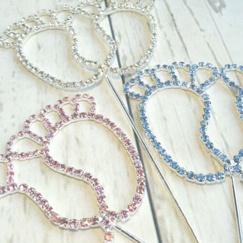 Blue Diamante Baby Feet Pick Pink Clear Baby Shower Christening Nappy Cake