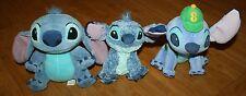 "Lot of 3 Disney Lilo & Stitch Plush 6-9"" - 1 has school backpack & baseball cap"