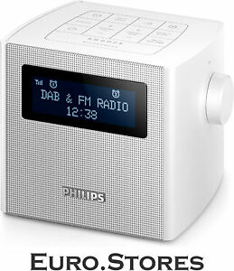philips ajb4300w 12 white clock radio dab fm digital tuning usb charging genuine ebay. Black Bedroom Furniture Sets. Home Design Ideas