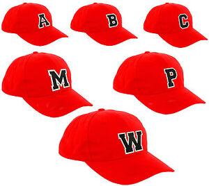 Children School RED Baseball Cap Boy Girl Snapback Kids Hat Letters A-Z Black LA