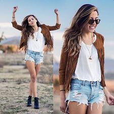 Women Punk Tassels Fringe Blazer Trench Coat Lady Outwear Jacket Tops Blouse L6