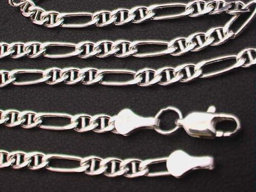 "6.5-10g 16/"" Taxco Mexico 925 Sterling Silver Anchor Figaro Chaîne Collier 24/"""