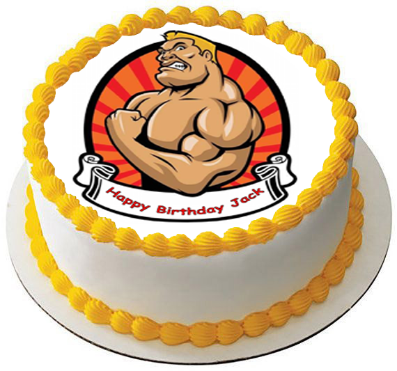 Stupendous Strong Muscle Man 7 5 Premium Edible Rice Card Cake Topper Can Be Personalised Birthday Cards Xaembasilily Jamesorg