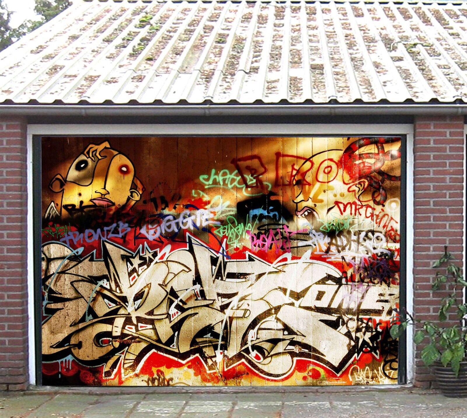 3D Hyun Cool Graffiti 6 Garage Door Murals Wall Print Wall AJ WALLPAPER UK Lemon