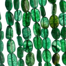 "8X7-12X7MM GREEN MOSS AVENTURINE GEMSTONE GREEN PEBBLE NUGGET LOOSE BEADS 15"""