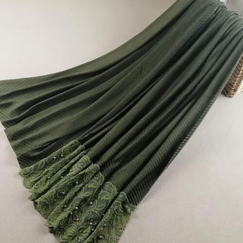 Fashion Women Lace Edges Pearl Scarf Hijab Muslim Crinkle Maxi Shawls Head Wrap