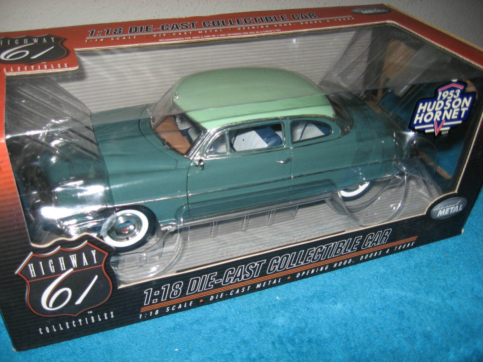 1953 HUDSON HORNET 2-TONE GREEN 1 18 HIGHWAY 61  OPENING HOOD  DOORS & TRUNK