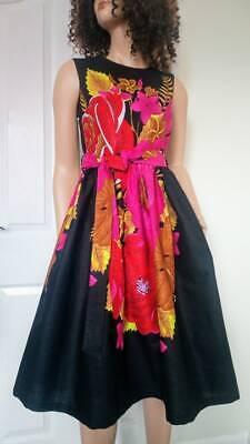 /'Azure Demona/' African Fabric Sleeveless Midi Dress 100 /% Wax Cotton Handmade