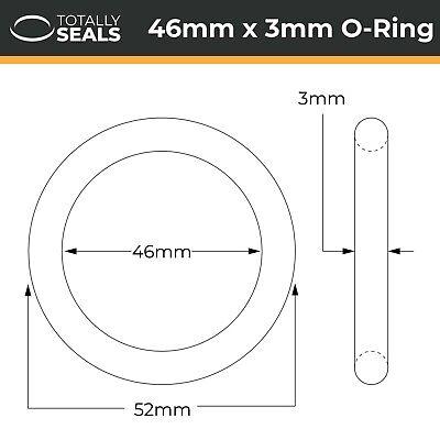 verschiedene Packungsgr/ö/ßen Schwarz 40 mm x 3 mm O-Ringe aus Nitrilkautschuk 70A Shore H/ärte 46 mm Au/ßendurchmesser 1