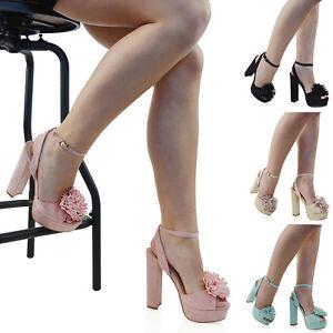 Mujer Sandalias De Plataforma tacón alto BLOCK tiras en Tobillo Zapatos peep toe