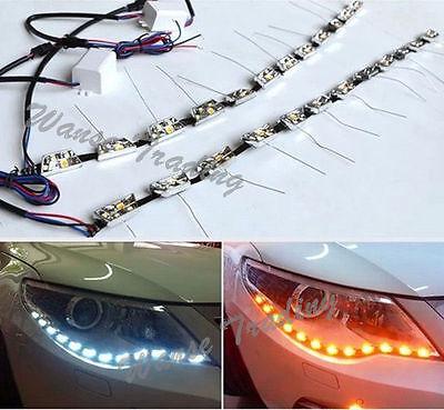 For Audi Style White/Amber Side Glow LED Strip Headlight Daytime Running Light