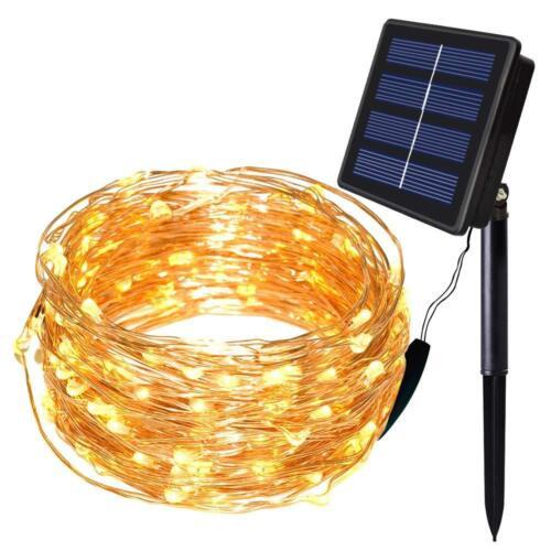 10M 20M LED Solar Draht Lichterkette Lichtschlauch Außen Garten Solarlampe IP65