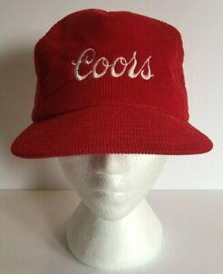 Vintage-Coors-Beer-Trucker-Hat-Baseball-Cap-Snapback-Red-Corduroy-Made-in-Canada
