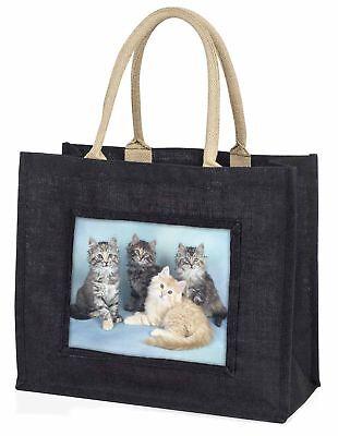 süß flauschig Kätzchen große schwarze Einkaufstasche Weihnachten Geschenkidee,