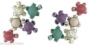 Lot of 10 Polymer Clay Turtle Magnets Mixed Colors 24x22mm (1 inch) So CUTE !