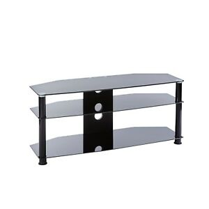 Black Glass Tv Stand 3 Tier Shelf Unit 100cm Universal Fits 32 49