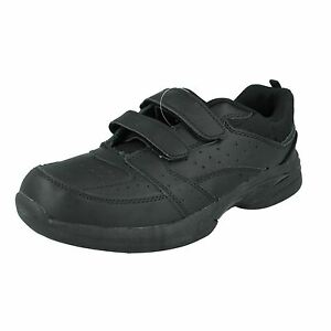 BANDTILEMens Reflex A2123 Black Leather Casual Riptape Strap Trainers