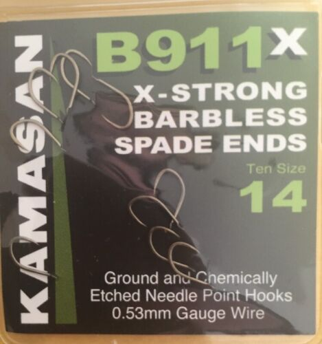KAMASAN B911X BARBED /& BARBLESS SPADE END HOOKS Free P/&P All Sizes