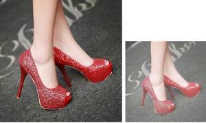 Éscarpins Chaussures Aiguille Élégant 13 Femme Aiguilles 5 Rouge Talons Plateau qgaR6wfx