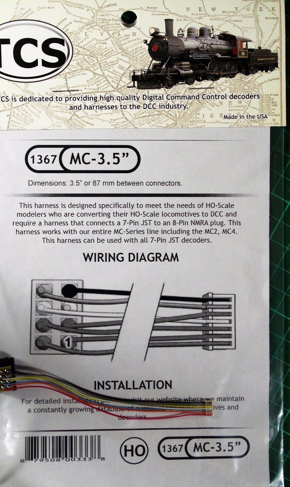 TCS 1361 3.5/'/' Harness 9 Pin JST To 8 Pin NMRA Plug