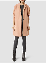 "£298 ALL SAINTS WOMEN'S  SMALL FIT M ORANGE ""VINE"" WARM BOYFRIEND COAT"