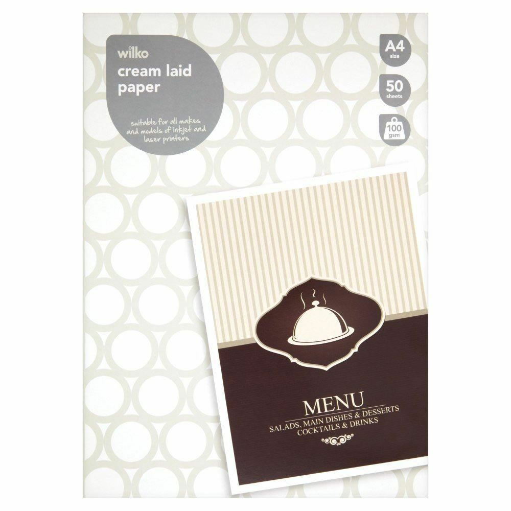 10 Pack: Wilko A4 Laid Paper Cream Sheets 100gsm Writing Paper 500 sheets, New
