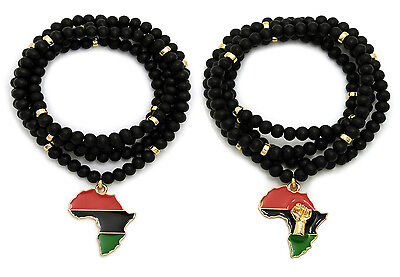 """Small Fist in Africa Pendant 6mm 30/"""" Wooden Bead Hip Hop Necklace RC2594SMG-WBK"""